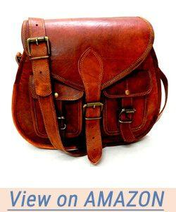Firu-Handmade Women Shoulder Bag Vintage Rustic Retro Style Genuine Brown Leather Cross body Travel Handmade Purse