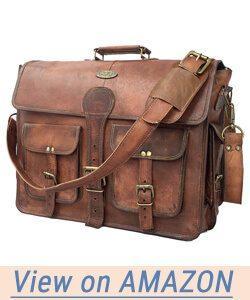 DHK 14 Inch Vintage Handmade Leather Messenger Bag