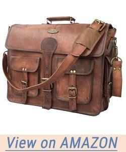 DHK 18 Inch Vintage Handmade Leather Messenger Bag