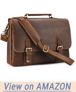 Kattee Men's Crazy Horse Leather Satchel Briefcase