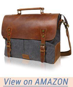 Lifewit Leather Vintage Canvas Laptop Bag