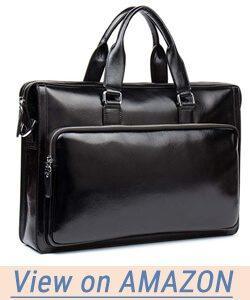 MANTOBRUCE Leather Briefcase Shoulder Laptop Business Travel Vintage Simple Messenger Bag Duffel Bag for Men