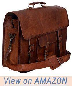 PL 16 Inch Vintage Leather Messenger Bag
