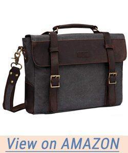 Vaschy Vintage Genuine Leather Canvas Messenger Bag