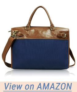 Lavievert Cotton Canvas and Crazy-Horse PU Leather Laptop Bag