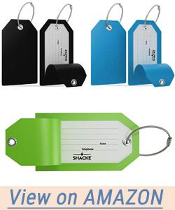 Shacke Luggage Tags with Full Back Privacy Cover Steel Loops