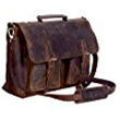 KomalC Leather Briefcase 15 Inch Leather Messenger Bag